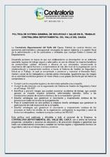 POLÍTICA DE SISTEMA GENERAL DE SEGURIDAD Y SALUD EN EL TRABAJO